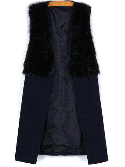sale Faux Fur Splicing Sleeveless Waistcoat - BLACK L Mobile