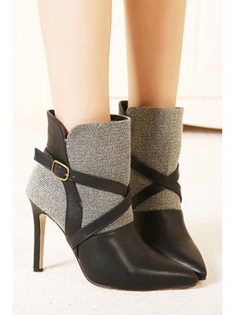 new Splice Buckle Sexy High Heel Boots - BLACK 37 Mobile
