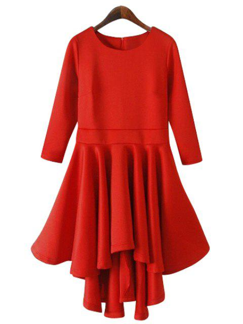 outfit Solid Color 3/4 Sleeve Flouncing Dress - RED M Mobile