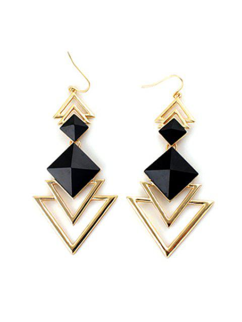 women's Pair of Faux Gem Decorated Triangle Pendant Earrings - BLACK  Mobile