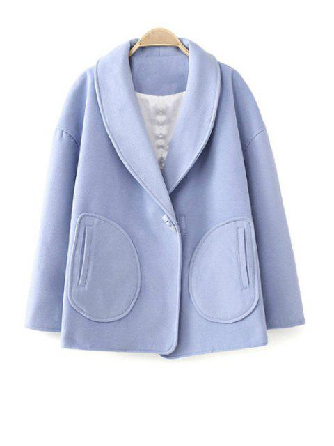 trendy Turn-Down Collar Solid Color Coat - BLUE L Mobile