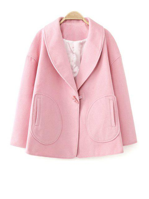 fancy Turn-Down Collar Solid Color Coat - PINK L Mobile