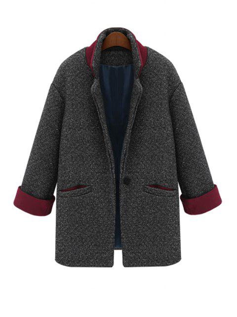 latest Color Block Lapel Worsted Coat - DEEP GRAY M Mobile