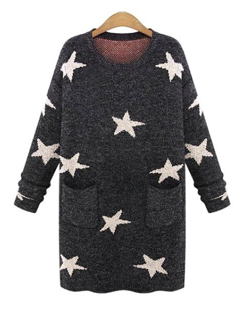 unique Long Sleeve Star Pattern Sweater - DEEP GRAY ONE SIZE(FIT SIZE XS TO M) Mobile
