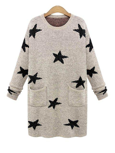 sale Long Sleeve Star Pattern Sweater - KHAKI ONE SIZE(FIT SIZE XS TO M) Mobile