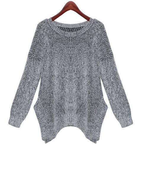 affordable Irregular Hem Long Sleeve Sweater - GRAY ONE SIZE(FIT SIZE XS TO M) Mobile