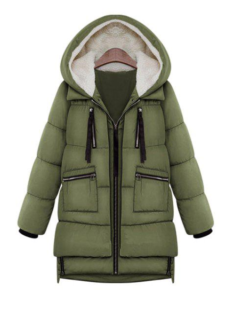 best Hooded Solid Color Zipper Coat - ARMY GREEN L Mobile