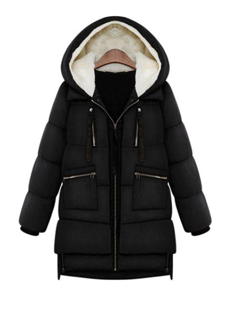 outfits Hooded Solid Color Zipper Coat - BLACK XL Mobile
