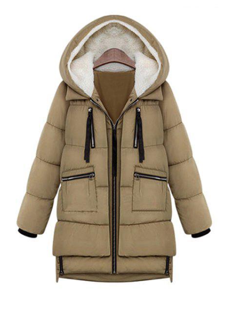 latest Hooded Solid Color Zipper Coat - KHAKI L Mobile