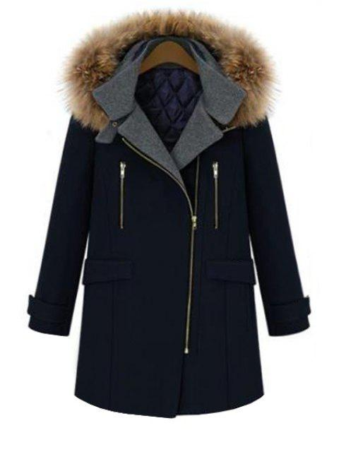 unique Faux Fur Hooded Solid Color Coat - DEEP BLUE S Mobile