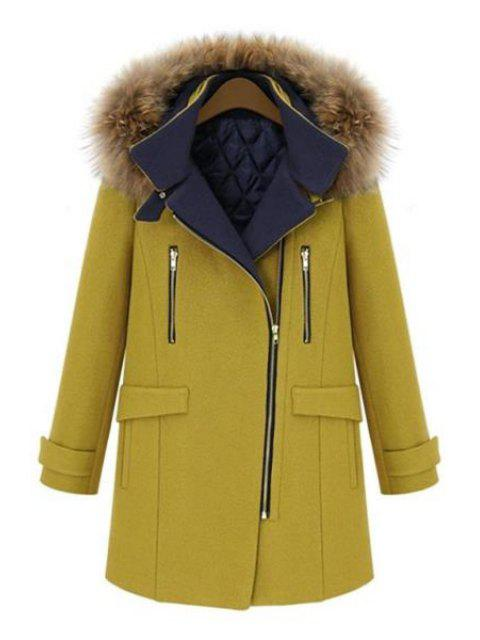 best Faux Fur Hooded Solid Color Coat - YELLOW 2XL Mobile