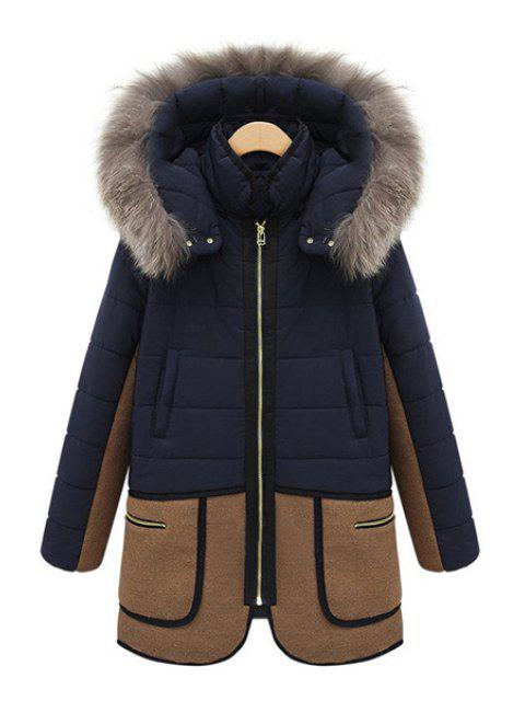 new Faux Fur Hooded Color Block Coat - BLUE 2XL Mobile
