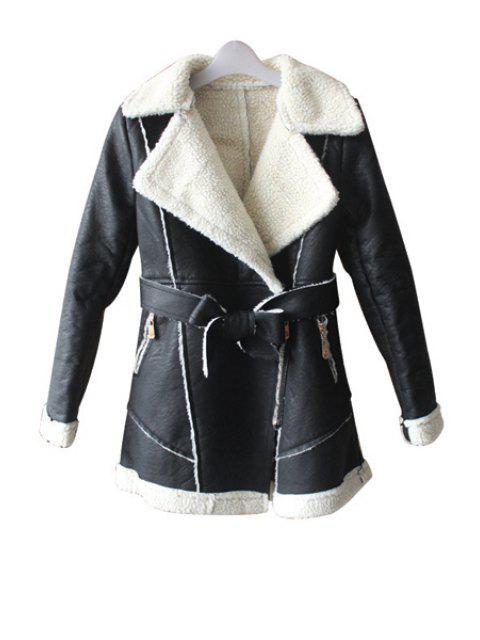chic Lamb Wool Splicing PU Leather Coat - APRICOT L Mobile
