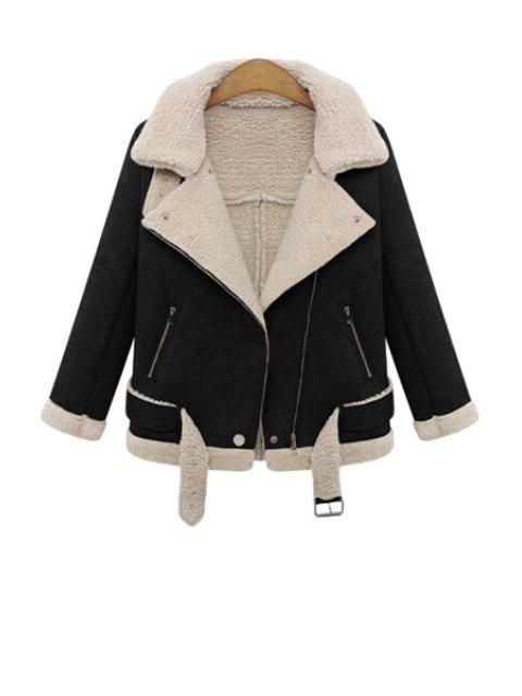 lady Lapel Lamb Wool Splicing Jacket - BLACK S Mobile