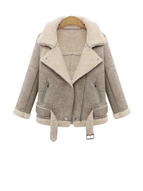 shop Lapel Lamb Wool Splicing Jacket - KHAKI XL Mobile