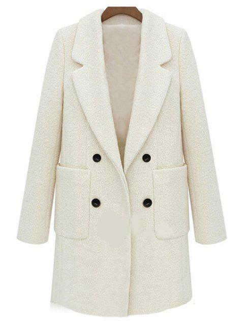 buy Double-Breasted Solid Color Coat - OFF-WHITE XL Mobile