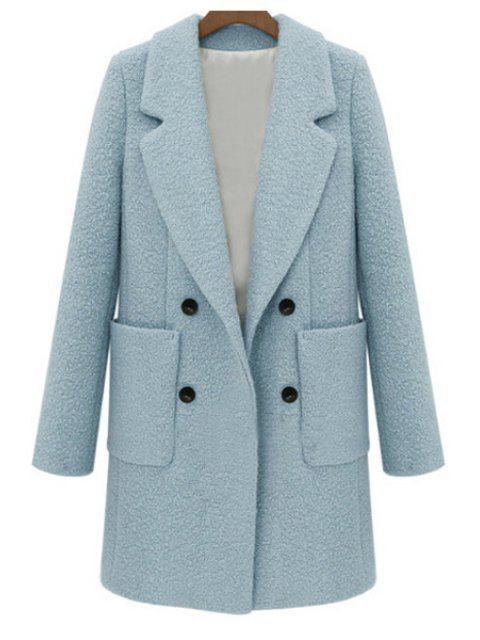 womens Double-Breasted Solid Color Coat - LIGHT BLUE S Mobile