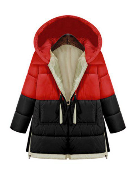 online Hooded Color Block Zipper Coat - RED 2XL Mobile