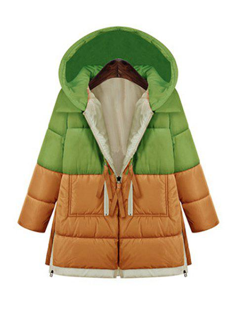 outfit Hooded Color Block Zipper Coat - GREEN XL Mobile