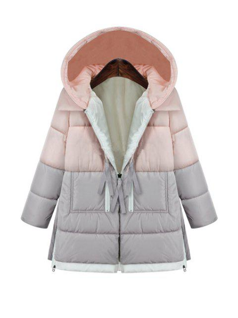 shops Hooded Color Block Zipper Coat - PINK L Mobile