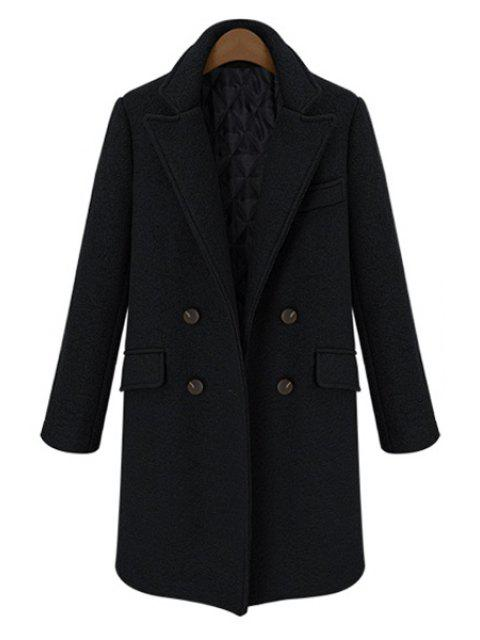 fancy Double-Breasted Lapel Worsted Coat - BLACK M Mobile