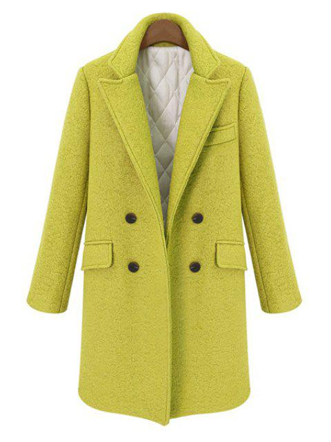 buy Double-Breasted Lapel Worsted Coat - YELLOW M Mobile