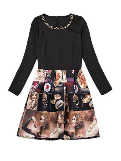 trendy Figure Print Long Sleeve Dress - AS THE PICTURE M Mobile