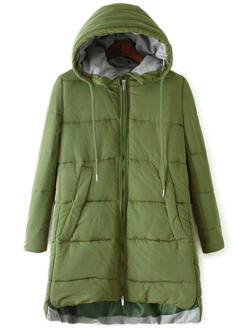 womens Color Block Hooded Zipper Coat - ARMY GREEN L Mobile