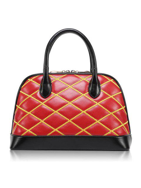 shops Color Block Checked Zipper Tote Bag - RED  Mobile