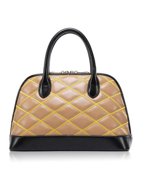 trendy Color Block Checked Zipper Tote Bag - APRICOT  Mobile