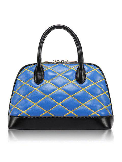 latest Color Block Checked Zipper Tote Bag - BLUE  Mobile