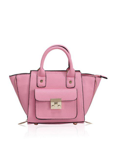 lady Rivets Hasp Solid Color Tote Bag - PINK  Mobile