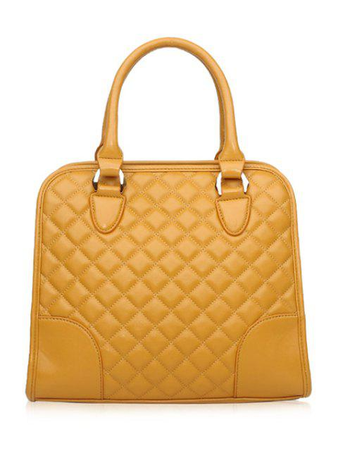 outfits Checked Splice Zipper Tote Bag - YELLOW  Mobile