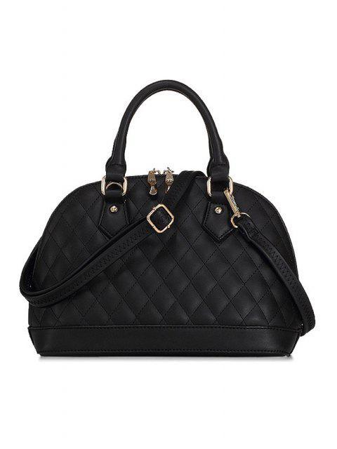 Checked Shell Shape Tote Bag - أسود  Mobile