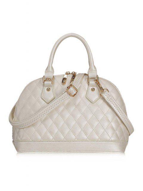 fashion Checked Shell Shape Tote Bag - WHITE  Mobile