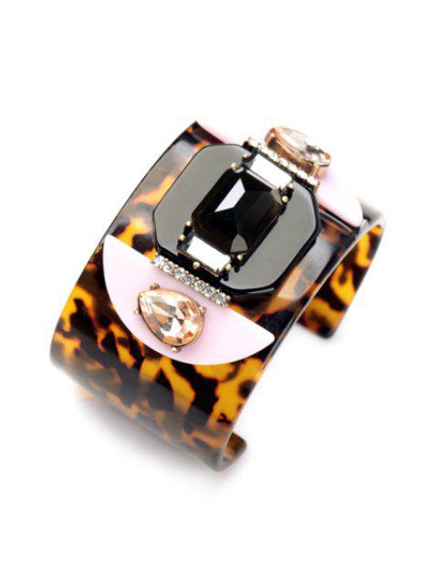 fashion Faux Gem Leopard Print Bracelet - LEOPARD  Mobile