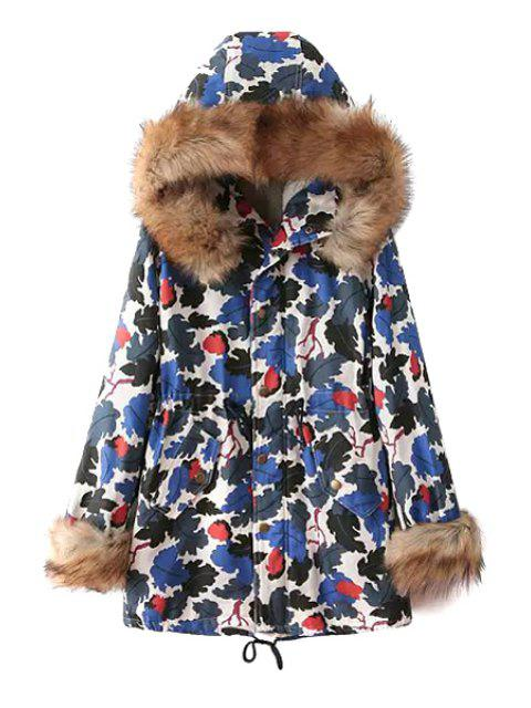 latest Leaf Print Hooded Coat - BLUE M Mobile