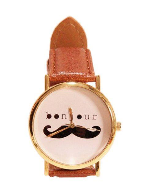 ladies Mustache Letter Pattern Watch - BROWN  Mobile