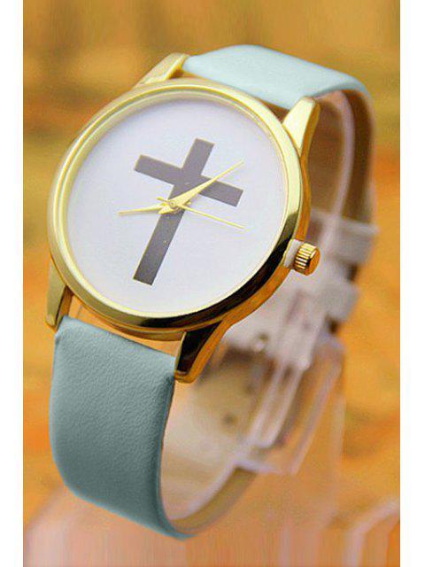 women PU Leather Cross Pattern Watch - BLUE  Mobile