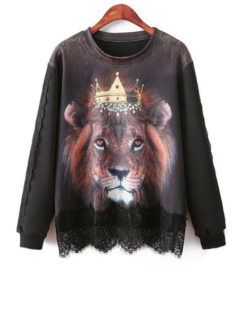 best Lion Print Lace Splicing Sweatshirt - BLACK ONE SIZE(FIT SIZE XS TO M) Mobile