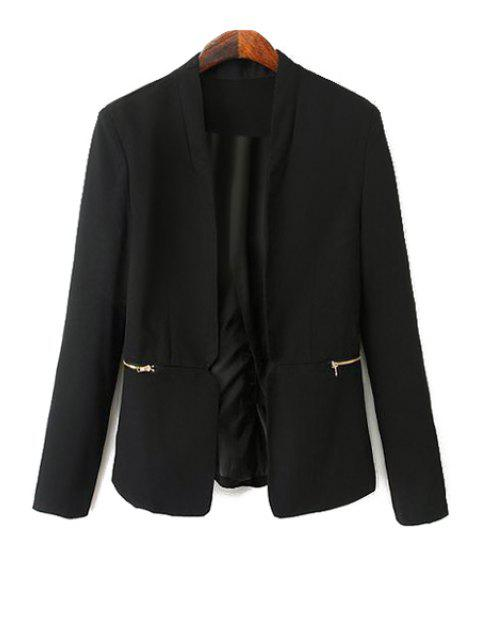buy Black Long Sleeve Zipper Blazer - BLACK M Mobile
