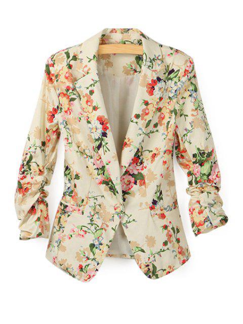 fashion Floral Print Lapel Neck Blazer - APRICOT M Mobile