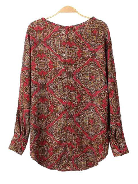 lady Retro Print Long Sleeve Blouse - COLORMIX L Mobile