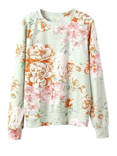 online Letter and Floral Print Sweatshirt - LIGHT GREEN S Mobile