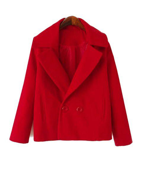 shop Solid Color Lapel Collar Worsted Coat - RED XL Mobile