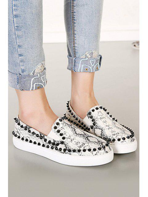 womens Snake Print Round Toe Rivets Flat Shoes - SILVER GRAY 36 Mobile
