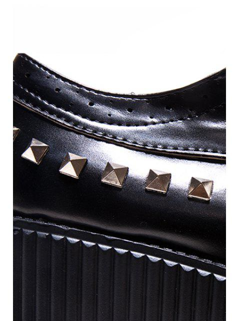 ladies Rivets Hollow Out Platform Shoes - BLACK 37 Mobile