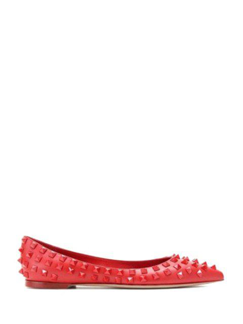 best Pointed Toe Rivets Flat Shoes - RED 36 Mobile