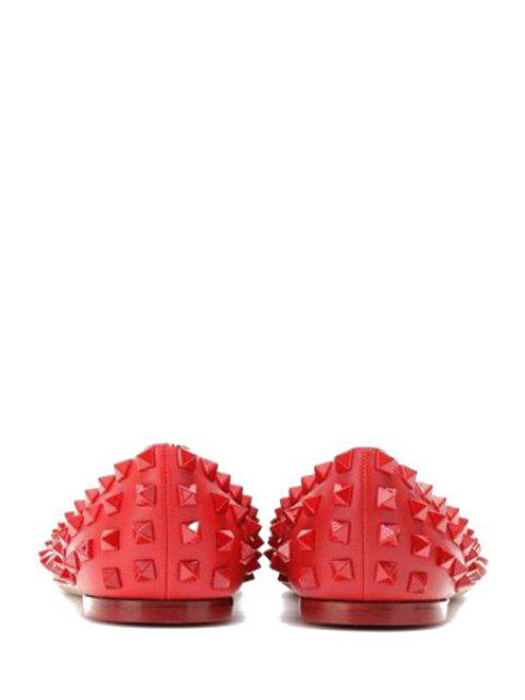 lady Pointed Toe Rivets Flat Shoes - RED 35 Mobile