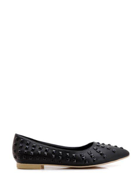 shops Pointed Toe Rivets Flat Shoes - BLACK 37 Mobile